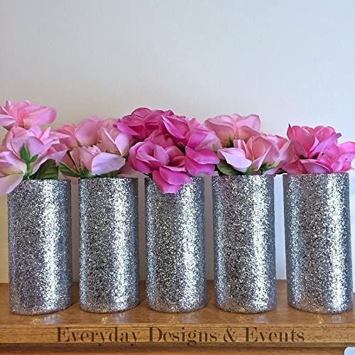 Amazon Set Of 6 Silver Glitter Glass Cylinder Vases Wedding