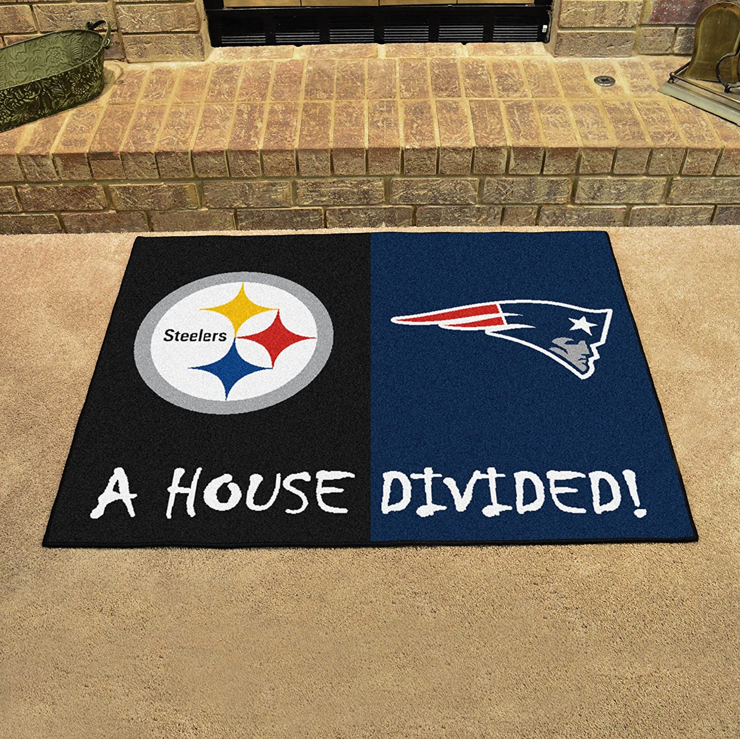 FANMATS 19245 NFL House Divided Steelers//Patriots House Divided Mat