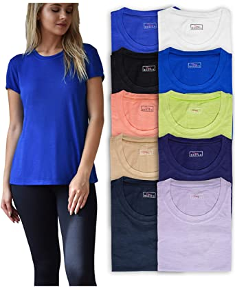 22970ddea52c47 Women's 10 Pack Everyday Flowy Slub Burnout Active Casual Workout Crew T  Shirt Tops at Amazon Women's Clothing store:
