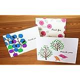 BLUEPAGE ミニ サンキューカードセット 3種類 10.5x7.3cm二つ折り 中無地 封筒つき(デザイン:budou blue,rose,kotori tree)