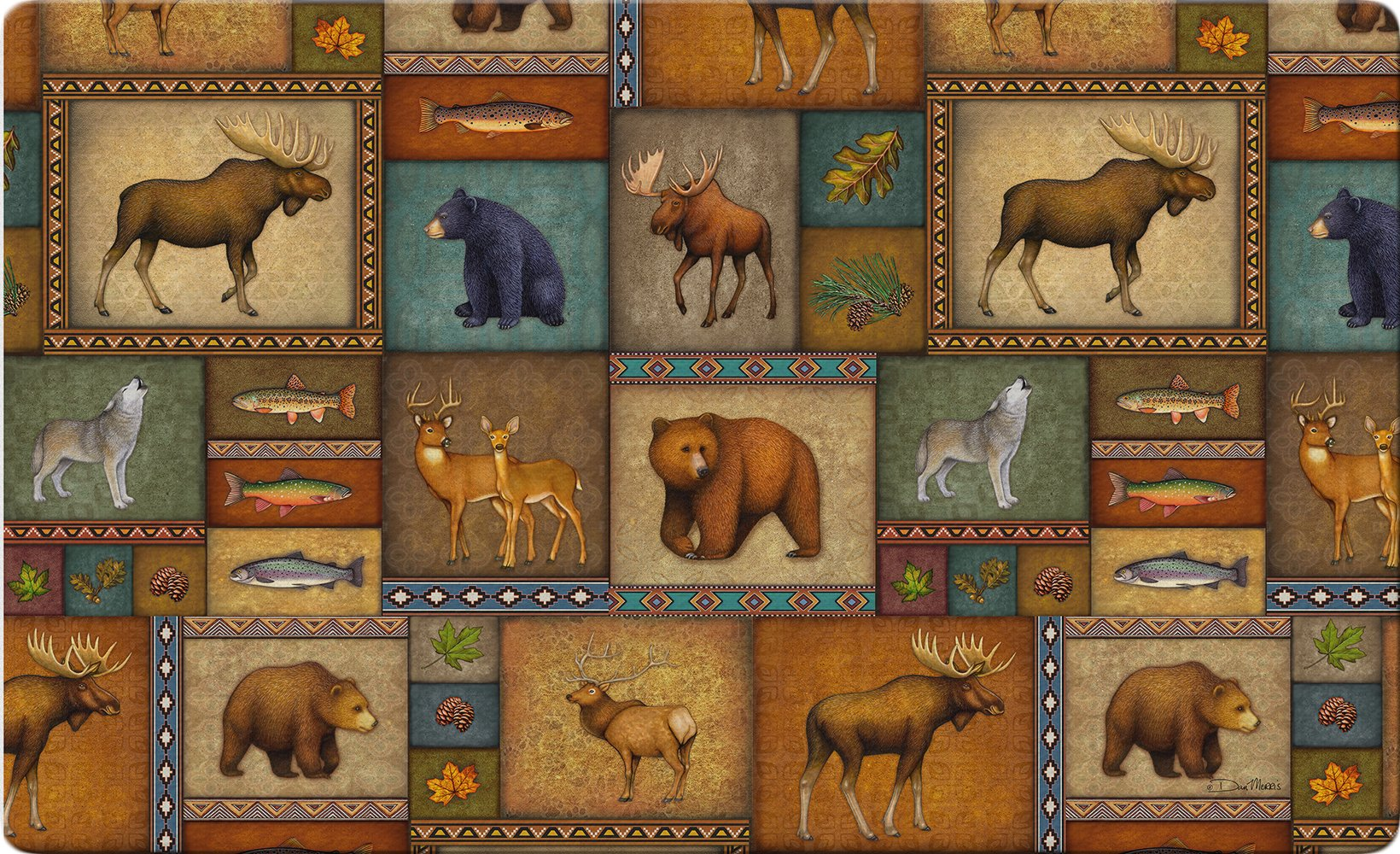 Toland Home Garden Quilted Wilderness 18 x 30 Inch Decorative Wildlife Floor Mat Animal Collage Doormat