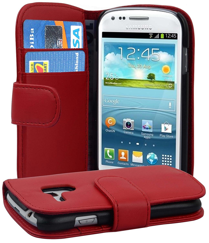 Cadorabo Carcasa Compatible Con Samsung Galaxy S3 Mini Funda en color rojo, funda con tarjetero de piel sintética liso Case Cover Funda Para portatil