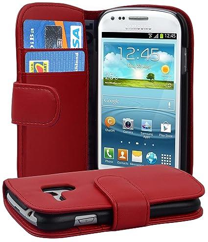 Cadorabo Samsung Galaxy S3 MINI Funda de Cuero Sintético LISO en ROJO DE CHILE Cubierta Protectora Estilo Libro con Cierre Magnético, Tarjetero y Función de ...