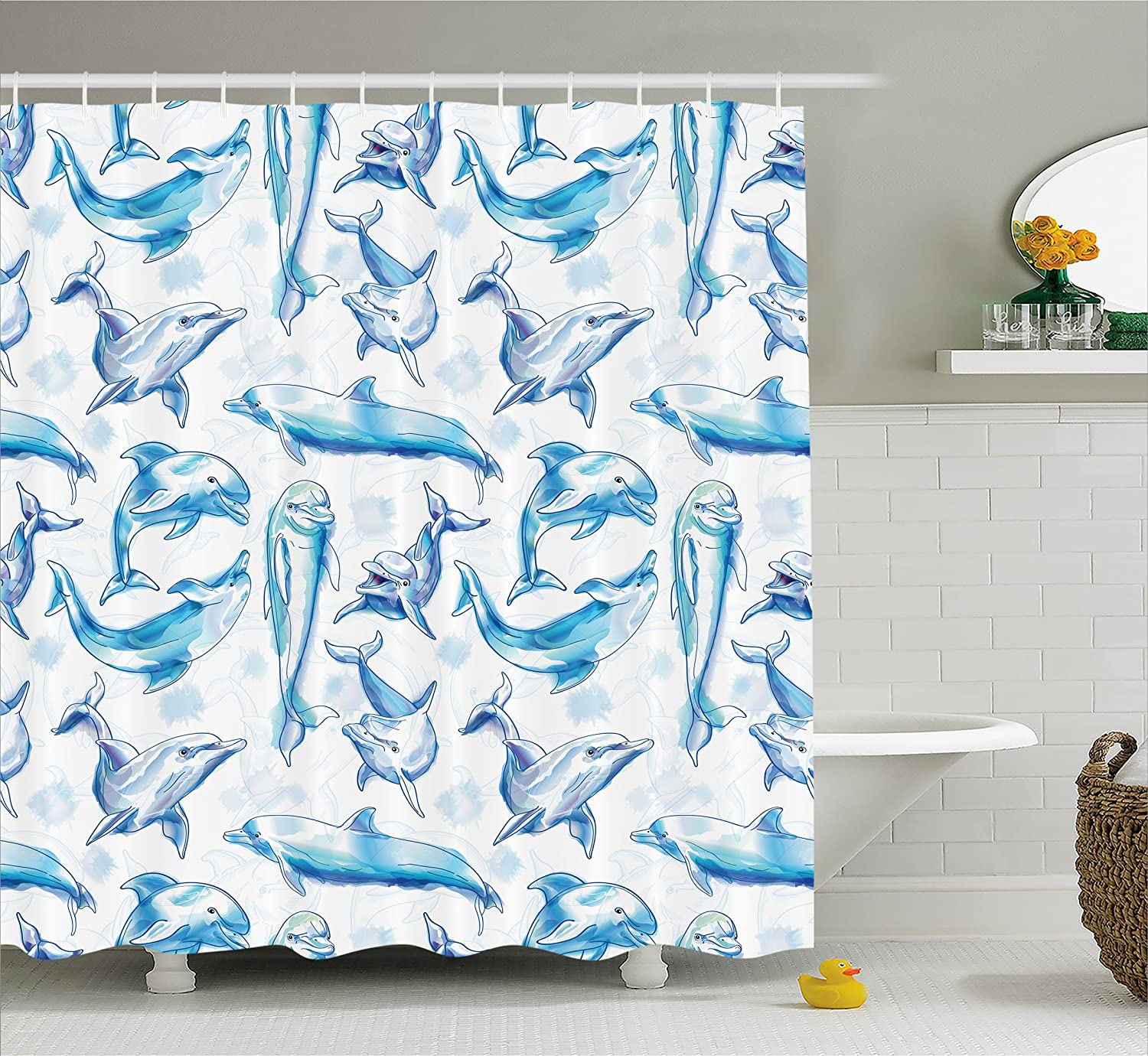 Ambesonne Sea Animals Decor Shower Curtain Sketch Of Bottlenose Dolphins Playing Laughing In Ocean Life Print Fabric Bathroom Set With Hooks