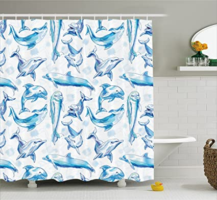 Ambesonne Sea Animals Decor Shower Curtain Sketch Of Bottlenose Dolphins Playing Laughing In Ocean Life