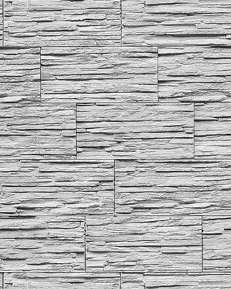 Carta da parati spazzolabile effetto muro di pietra naturale EDEM ...