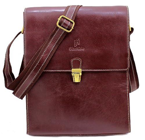 102c49a216 StarHide Brown Genuine Leather Cross Body Bag Shoulder Bag Travel Messenger  Bag For Kindle Ipad Tablet  520  Amazon.co.uk  Shoes   Bags