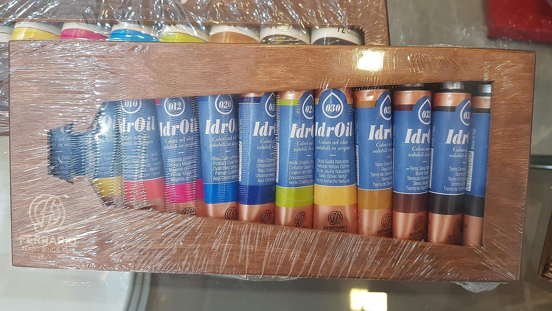 Colori ad olio idrosolubili IDROIL Ferrario 12x20 ml - COLORI AD OLIO, SCATOLA IN LEGNO, 20 ML