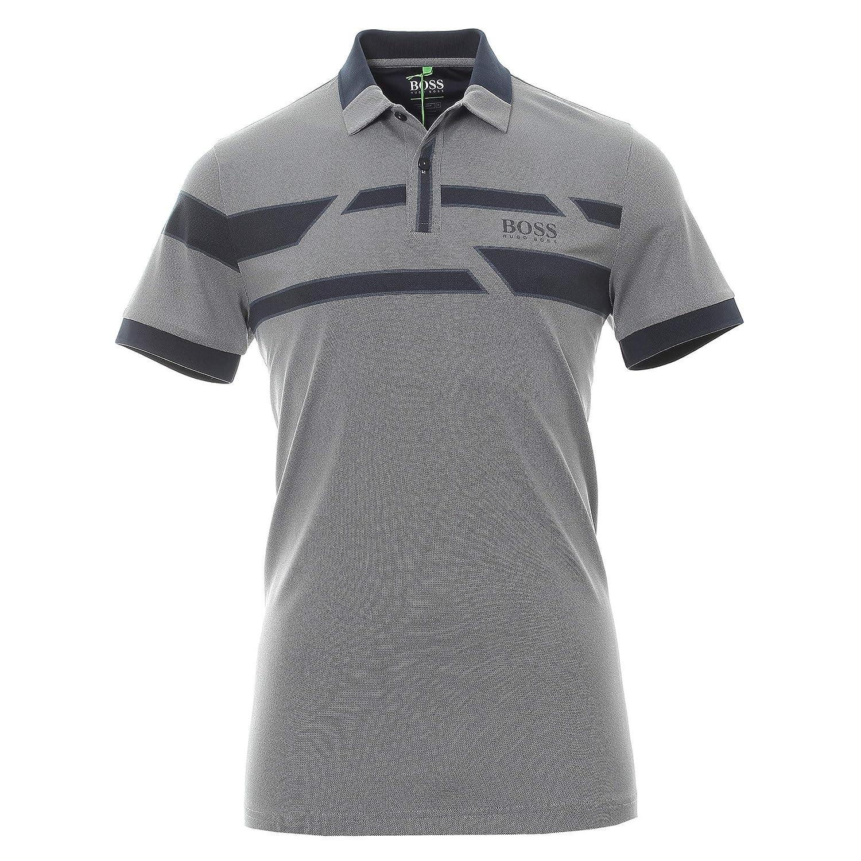fe7b38d4a Amazon.com: Hugo Boss Men's Gray Blue Paddy Pro 1 Polo Stretch T-Shirt:  Clothing