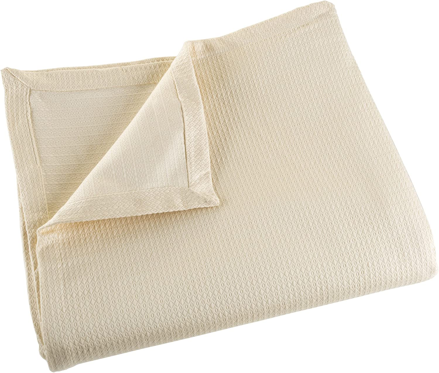 Cotton Blanket, Soft Breathable 100 Percent Cotton King Blanket for Comfort and Warmth By Lavish Home (King Size) (Cream)