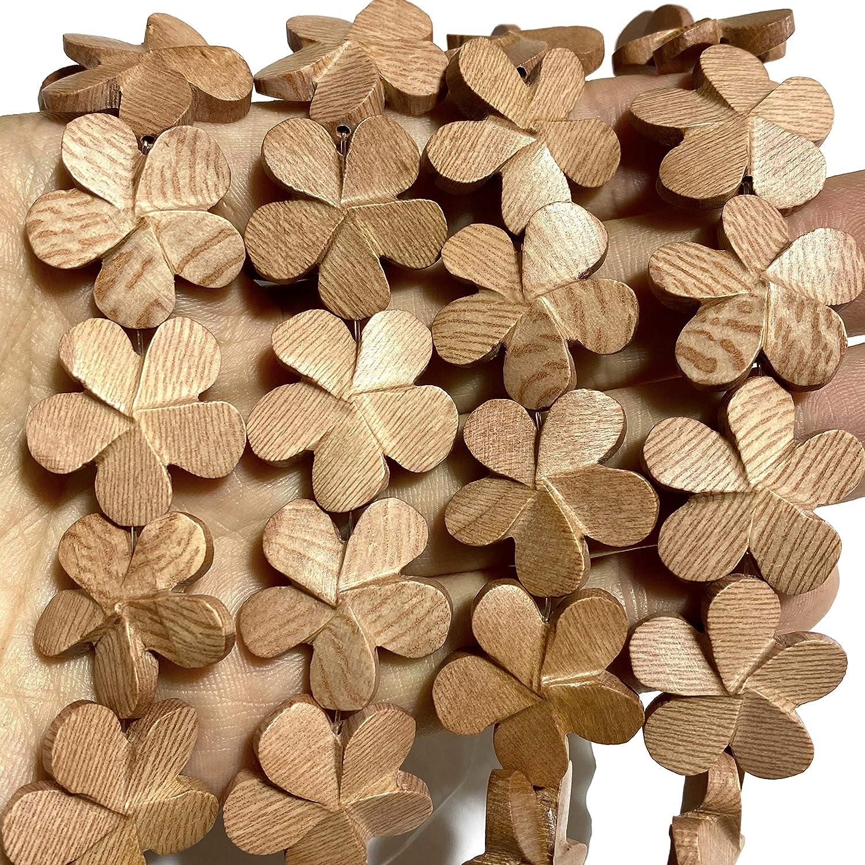 [ABCgems] Rosewood AKA Toog Tree Hardwood (Durable & Exquisite Wood Grain) 24mm Lucky 5-Leaf Clover Flower Natural Organic Healing Energy Pendant Beads (Full Strand 20 Beads)