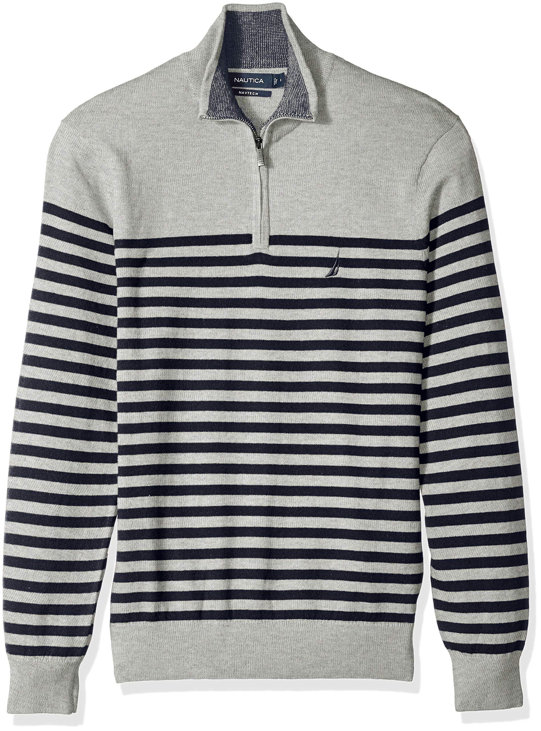 Nautica Men's Long Sleeve 1/4 Zip Sweater, Grey Heather, Large