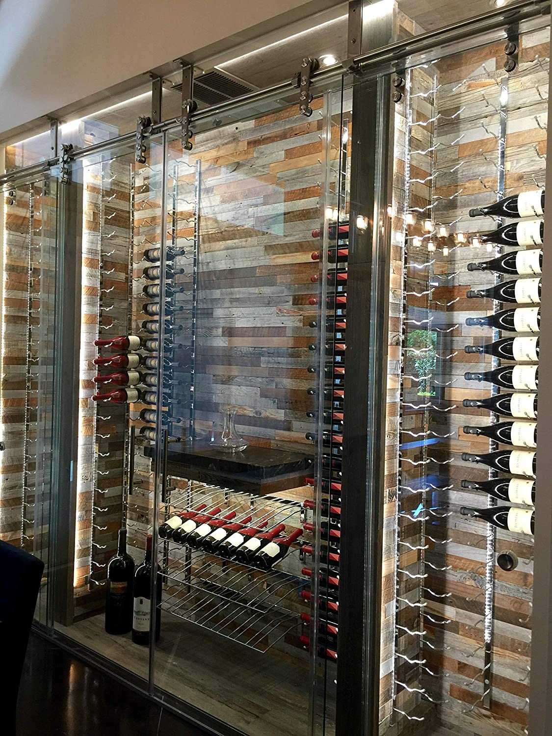 Presentation Row Wall Mounted Wine Rack Stylish Modern Wine Storage with Label Forward Design 3 Bottles, Brushed Nickel VintageView W Series