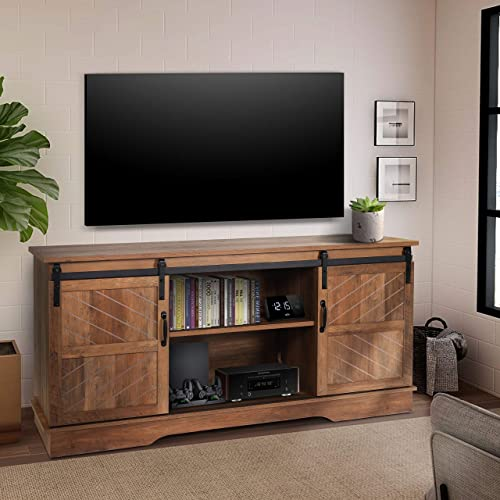 ENSTVER 58 Modern Farmhouse Wood TV Stand with Sliding Barn Door,Media Console Entertainment Center,for Home Living Room Rustic Oak