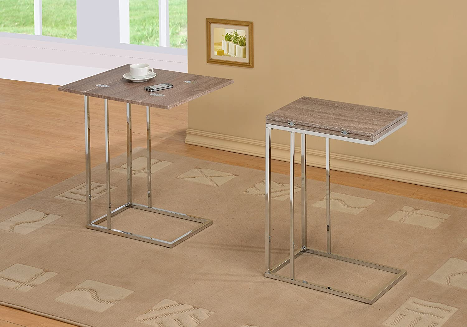 Amazoncom Reclaimed Wood Look Finish Expandable Snack Side End - Reclaimed wood and chrome coffee table