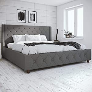 CosmoLiving Mercer Upholstered Bed - King - Grey Linen