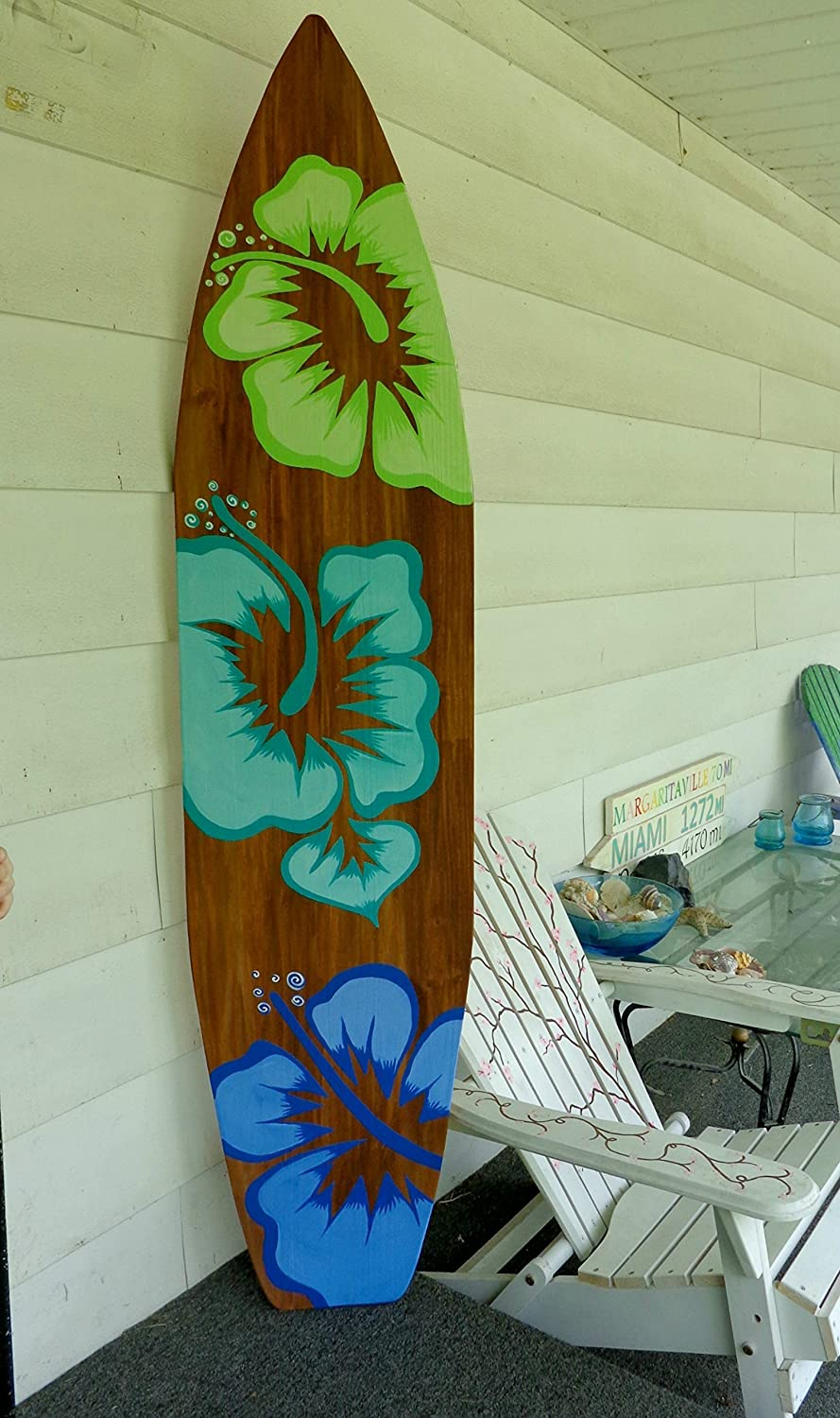 6 Foot Wood Surfboard Wall Art Stained Brown With Large Hibiscus Flowers