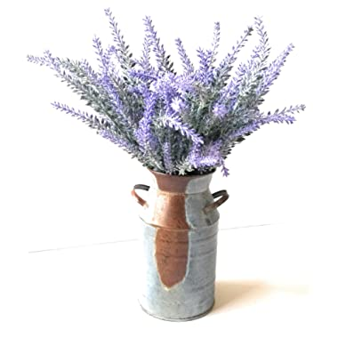 Home and Kitchen Market Flocked Lavender Bouquet & Rustic Galvanized Milk Can Vase 7 inch
