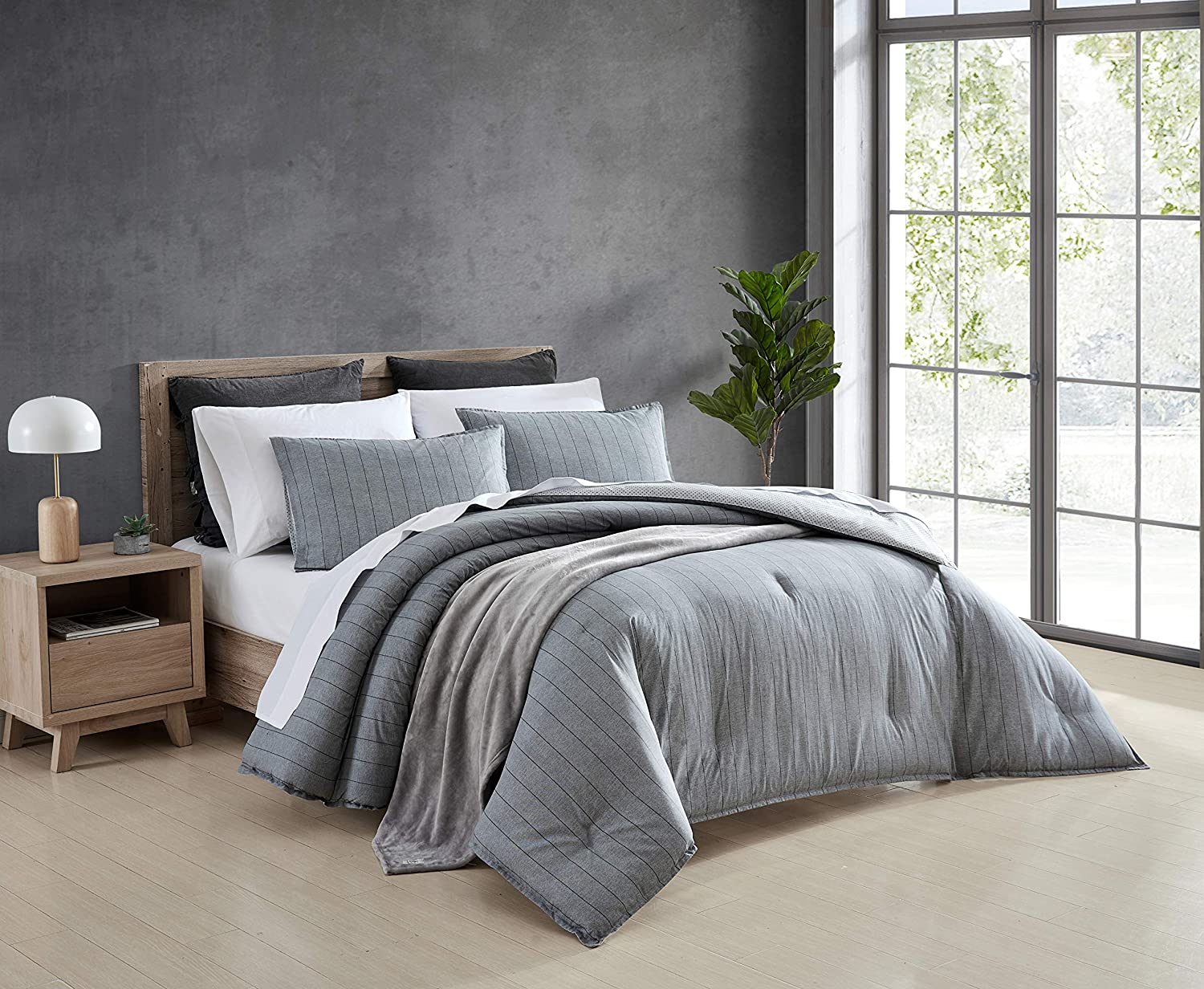 Ed Ellen Degeneres Chambray Pinstripe Collection Comforter Set 100 Cotton Reversible All Season Bedding With Matching Shams Full Queen Grey Home Kitchen