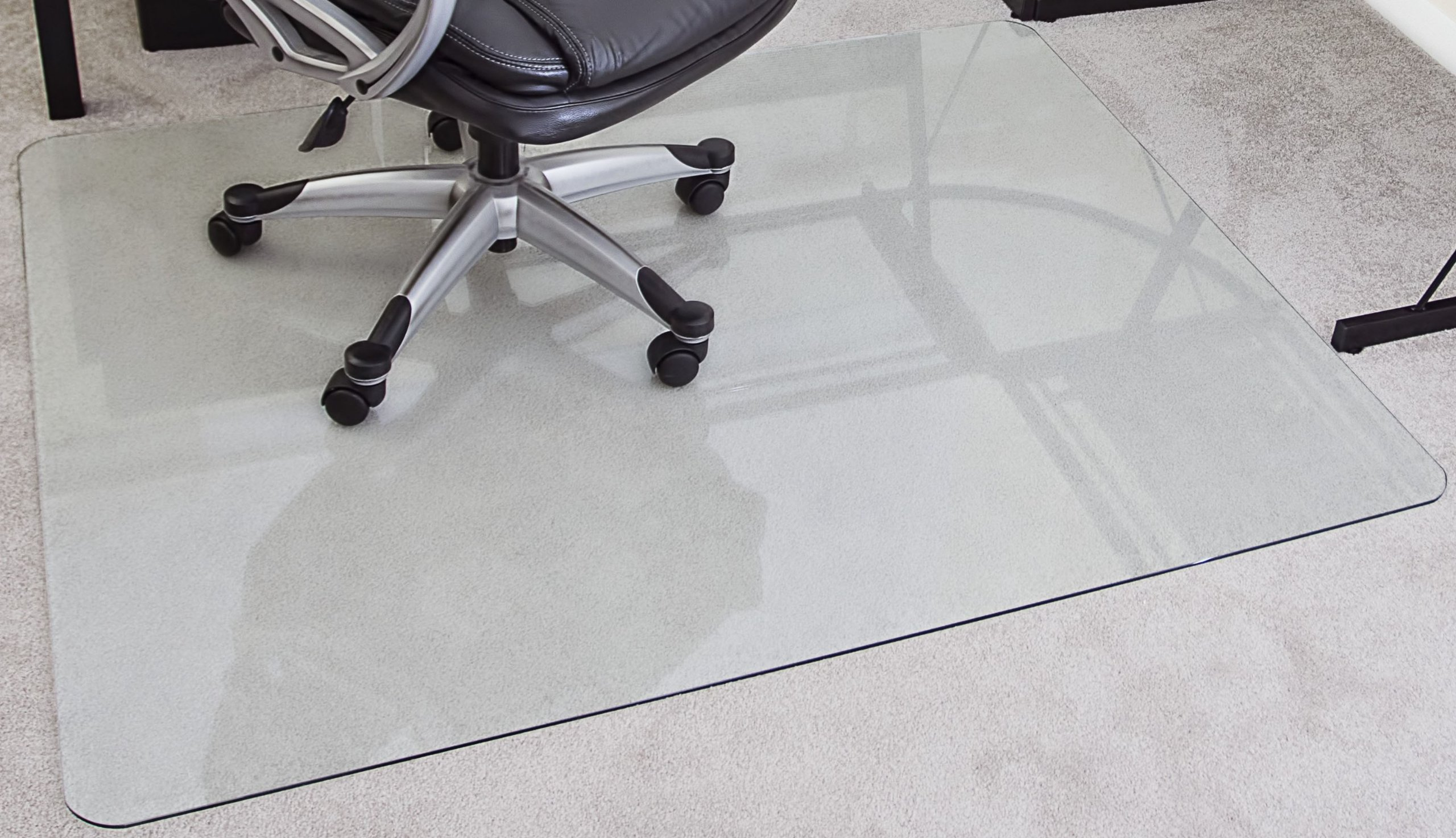 myGlassMat 48 x 60-Inch Tempered Glass Chair Mat for Carpet and Hard Floors, Rounded Corners, Smooth Polished Edges, 1/4-Inch Thick, Clear Glass (gcm48x60)