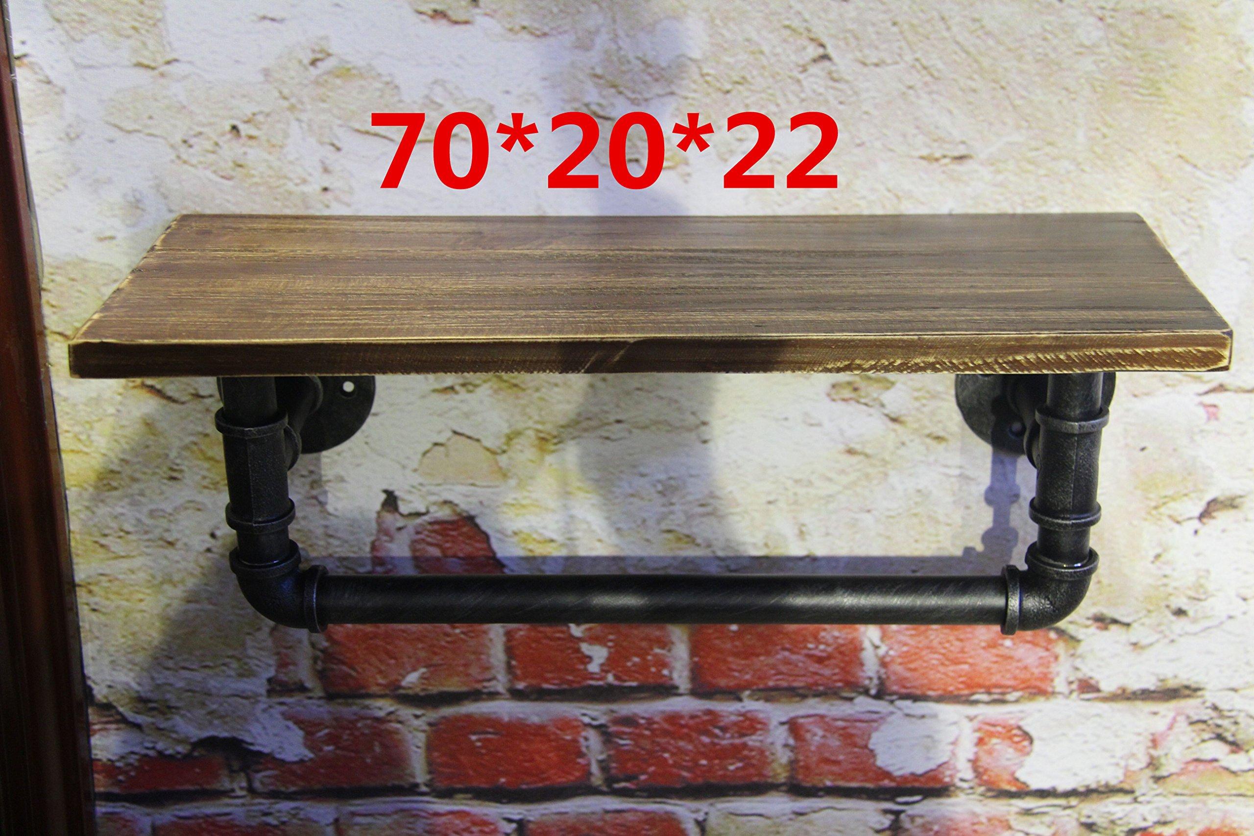 Yomiokla Bathroom Accessories - Kitchen, Toilet, Balcony and Bathroom Metal Towel Ring American Village Retro Industrial air Iron Pipes to Solid Wood Wall Shelf Racks 702022