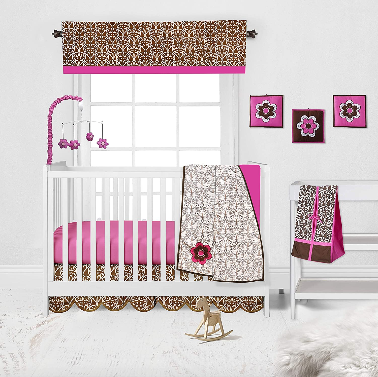 Damask Pink//Choco Girls 10 Piece Crib Set with 2 Crib Sheets Bumper Pad not Included Bacati