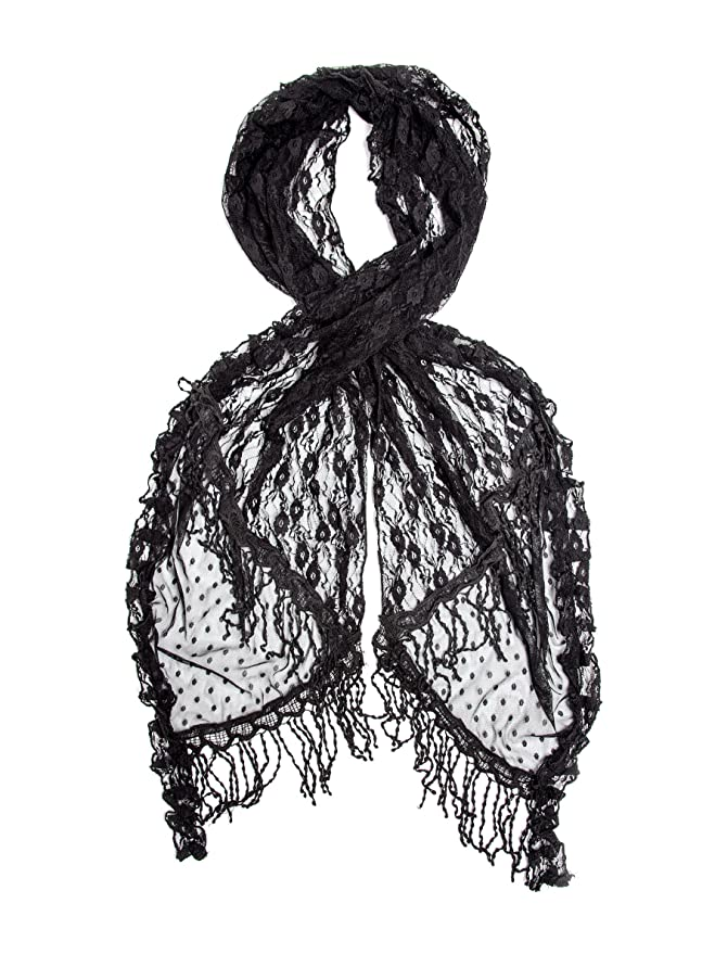 Victorian Inspired Womens Clothing Lace Crochet Trim Scarf $22.95 AT vintagedancer.com