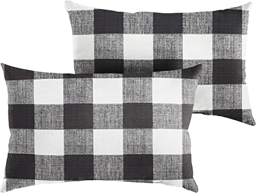 Premier Prints Black Buffalo Plaid 12 x 18 Knife Edge Decorative Indoor Outdoor Rectangle Lumbar Pillows, Perfect for Patio D cor – Black Buffalo Plaid Set of 2