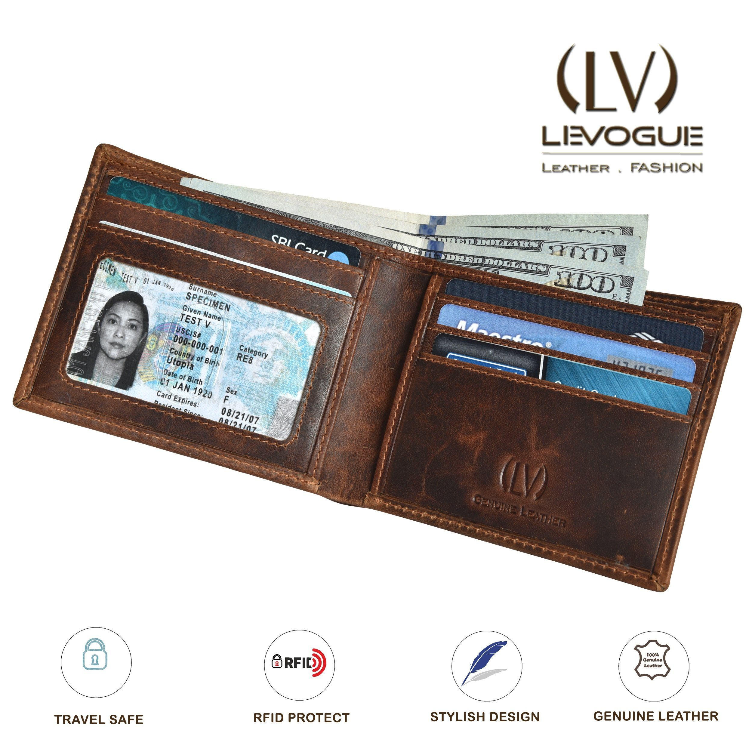 Genuine COW VINTAGE Leather RFID Blocking Handmade Bifold Wallet for Men 4 Credit card+1 ID Window+2 Note Compartment Minimalist Front Pocket Wallet- 100% Full Grain Cow Leather by LEVOGUE by LEVOGUE (Image #5)