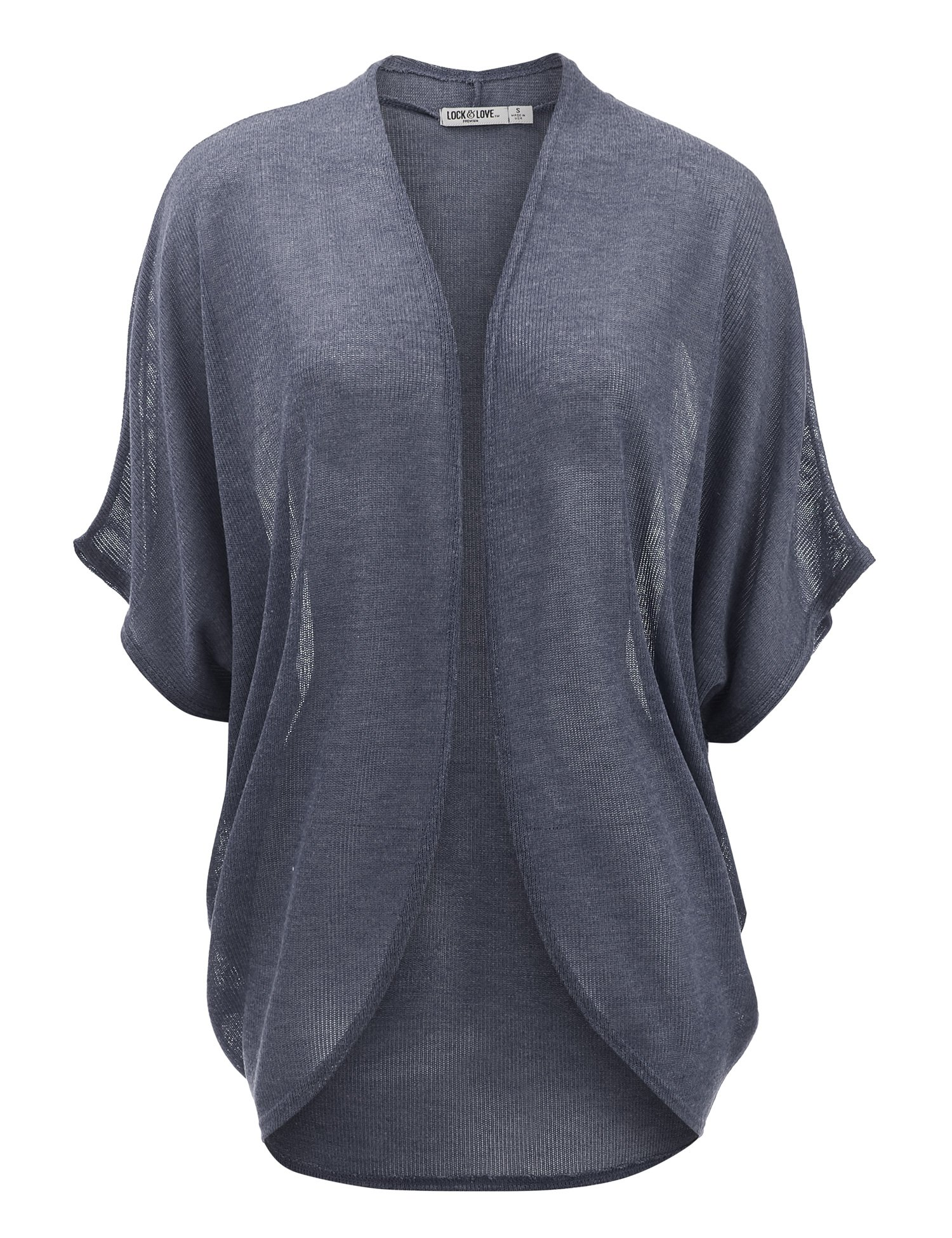 Lock and Love WSK1528 Womens Short Sleeve Open-Front Batwing Cardigan - Made in USA XL Navy