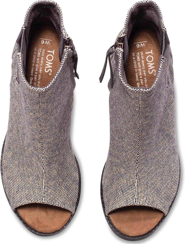 TOMS Majorca Peep Toe, Majorca, Chaussures Peep Toe. Femme Castlerock Grey Metallic Linen