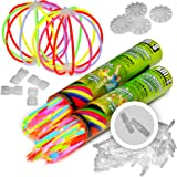 """KNIXS - 200 x 8"""" Glow Sticks, for 10 years in professional quality, German Test score: 1.6 / 200 x 3D bracelet connector + 4 extra ball connector, 6 colors SUPER-MIX"""