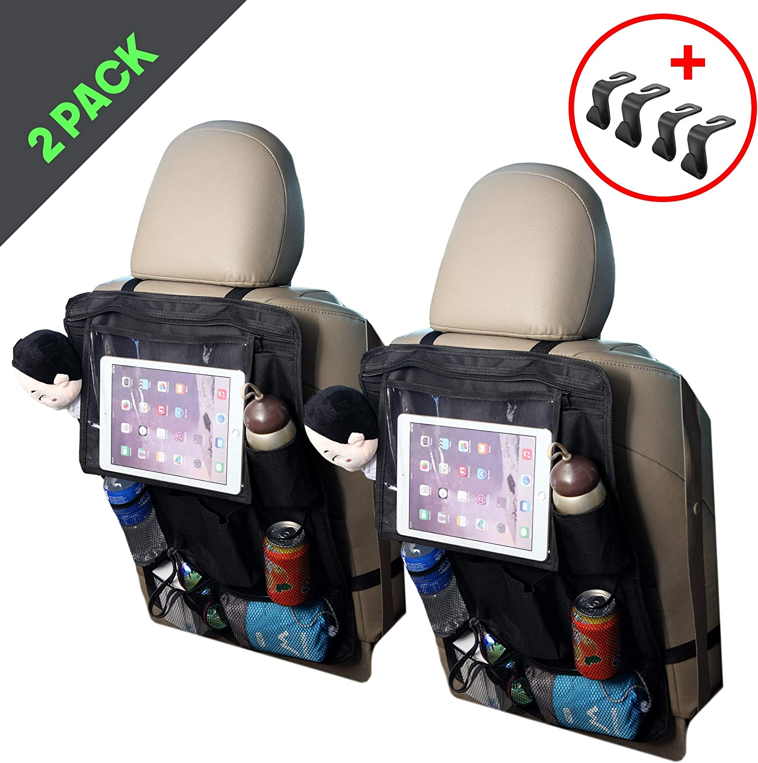 Bzon Car Backseat Organizer 9 Storage Pockets with Touch Screen Tablet Holder Kick Mats Car Seat Back Protector Great Travel Accessories for Kids and Toddlers (2 Pack)