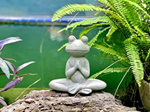 Elly Décor 8.5 Inch Tall Meditating Yoga Peace Todd Sculpture Figurine, Lawn Garden Statue Décor Made of Ceramic Zen Frog, Gray Cement Stone