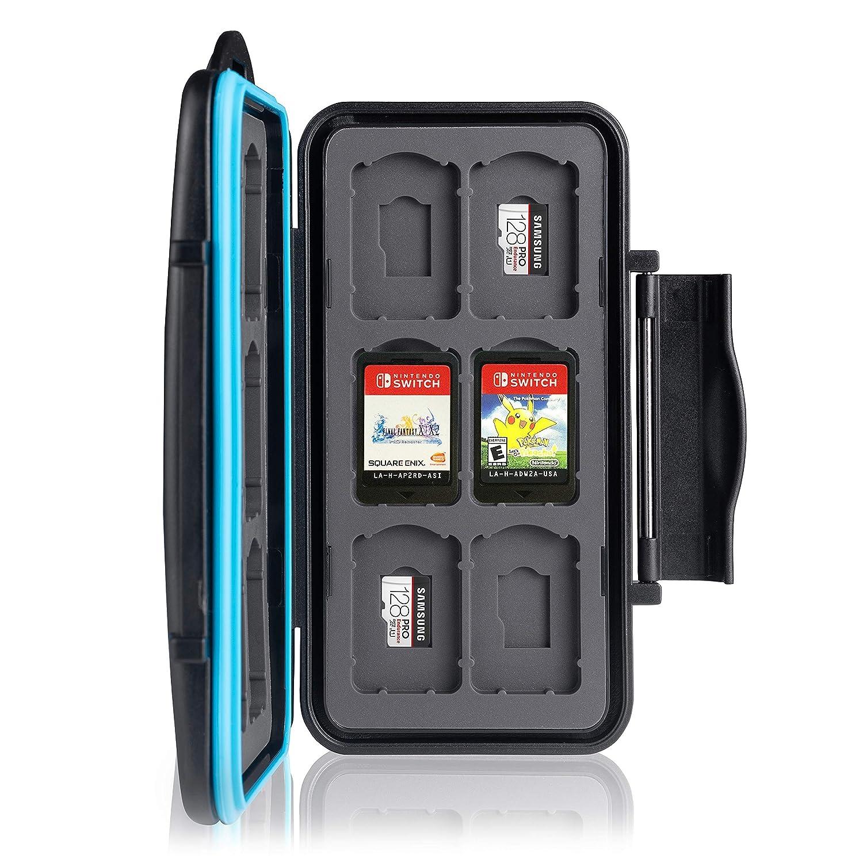 Ares Foto Caja de protección. para 12 Juegos de Nintendo Switch • Estuche para Tarjetas de Memoria • Bolsa de Viaje • Estuche Protector • Caja Fuerte ...