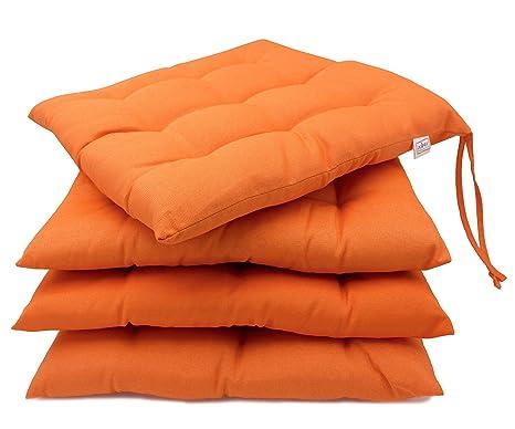 ZOLLNER 4 Cojines para Silla, 40x40 cm, Naranja, en varios colores