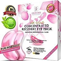 Under Eye Mask Rose Gold Eye Mask Anti-Aging Hyaluronic Acid 24k Gold Eye Patches Collagen Face Care Under Eye Pads Treatment Moisturizing Reducing Dark Circles Puffiness Wrinkles Men Women