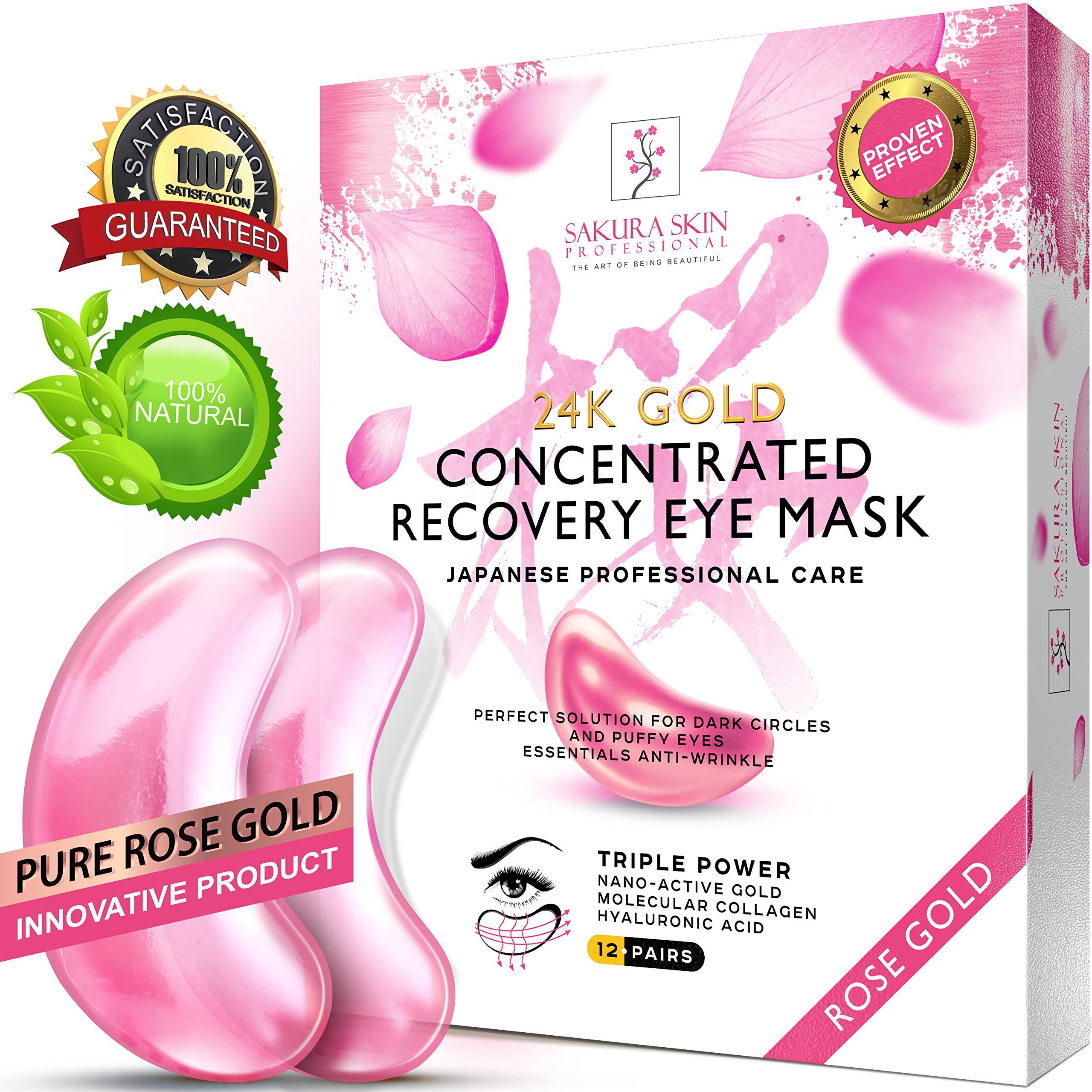 Eye Pads 24k Rose Gold Eye Mask Anti-Aging Hyaluronic Acid Eye Patches Pink Under Eye Mask for Moisturizing & Reducing Dark Circles Puffiness Wrinkles by SWISSÖKOLAB