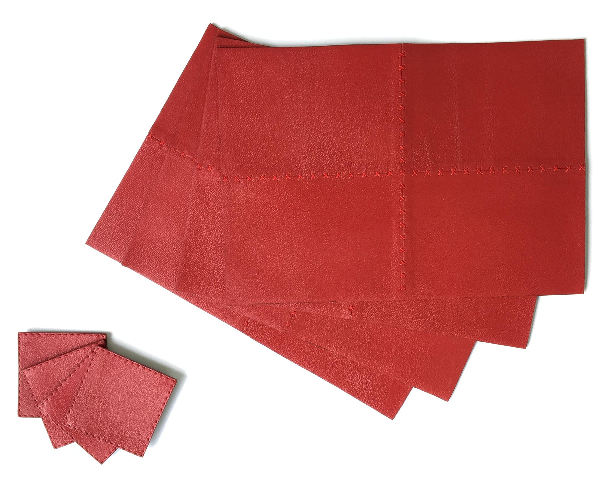 Set of 4 Piece Genuine Leather Placemat Set With Matching Coasters (Red) for Everyday use Luxury High-end Design in Kitchen and Dining Table - Easy to Clean Place Mat 17x12 inches Coaster 4x4 inches