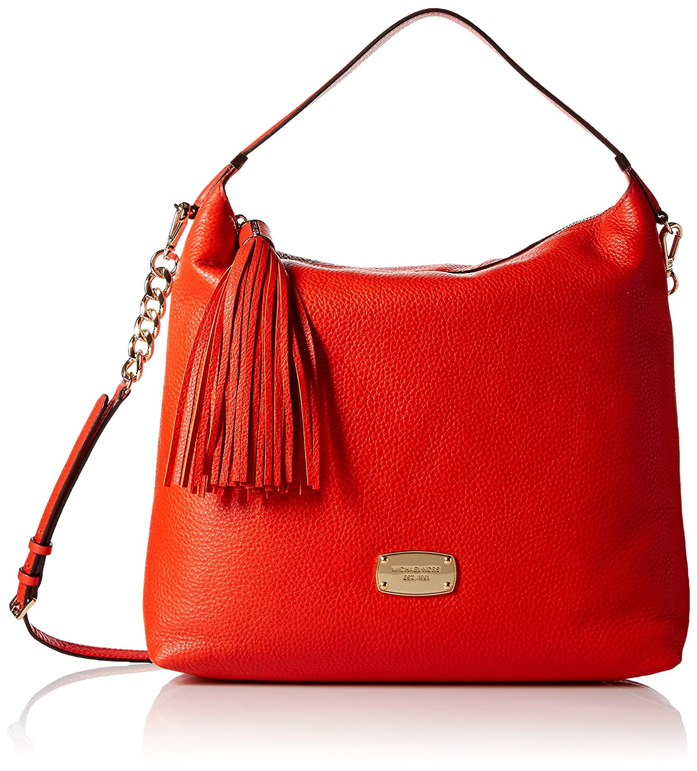 9f50e52ee48a0 Michael Kors Bedford Large Mandarin Orange Leather Top Zip Shoulder Bag   Handbags  Amazon.com