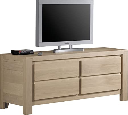 Destock Meubles Mobile TV Roble Gris 1 Puerta corredera: Amazon.es: Hogar