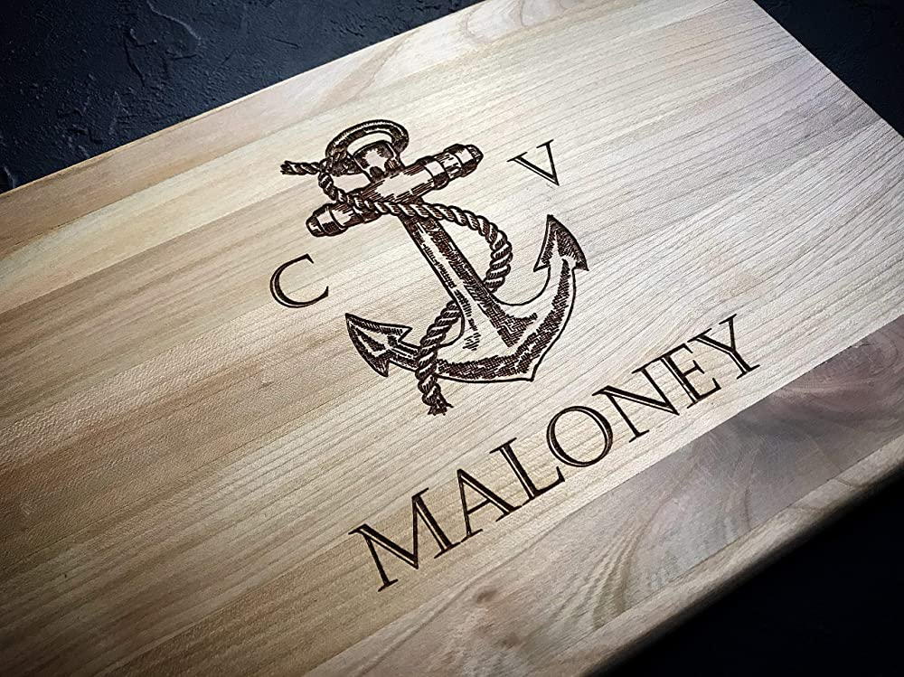 Anniversary Nautical Personalized Gift Coastal Wedding Personalized Kitchen Fiance Gift Gifts for Her Engraved Cutting Board