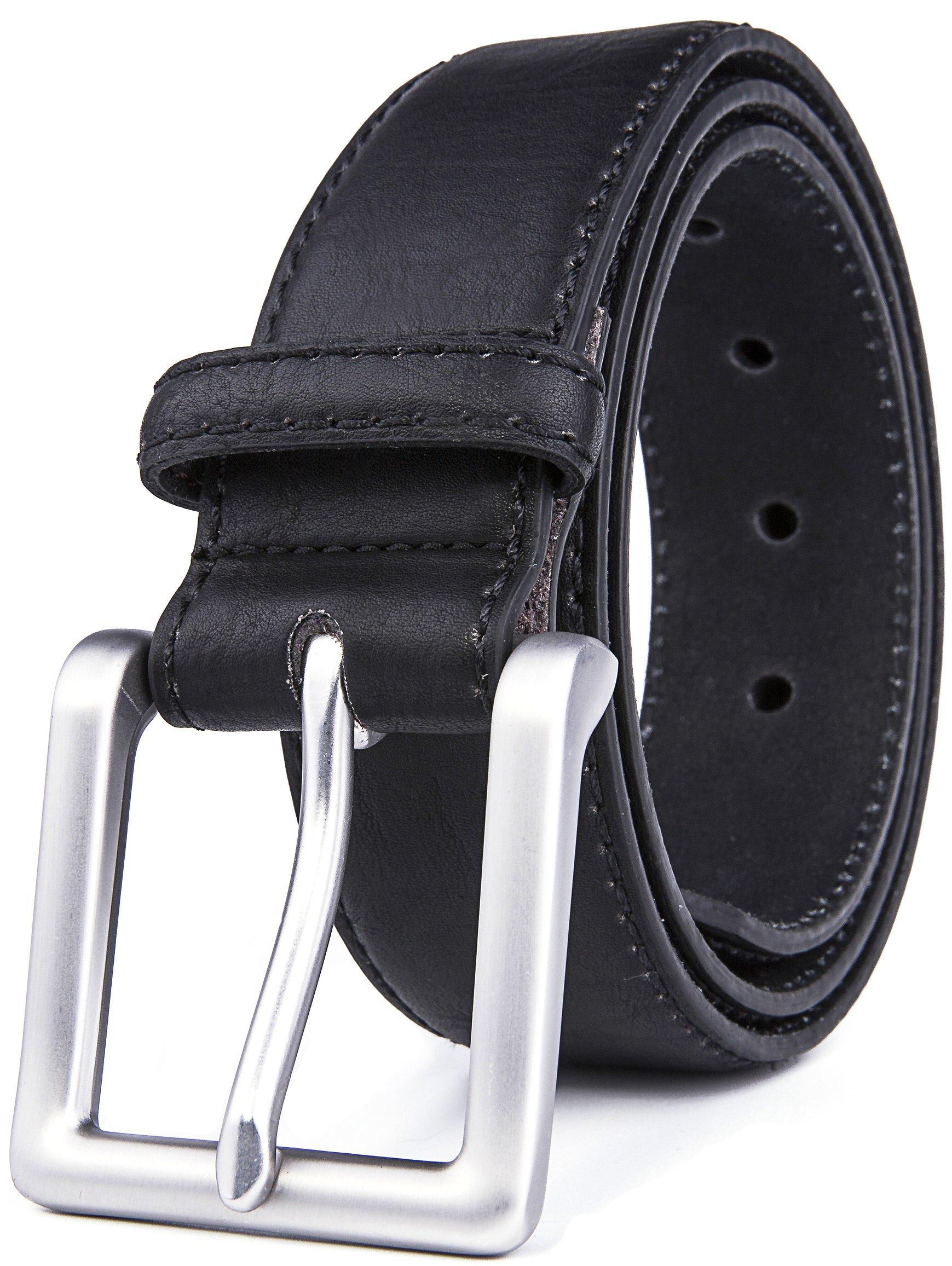 Belts for Men, Classic Stitched 1.69'' Width, Regular Tall & Big sizes - Mens Jeans Belt - Handmade (36/38, 2 Black)