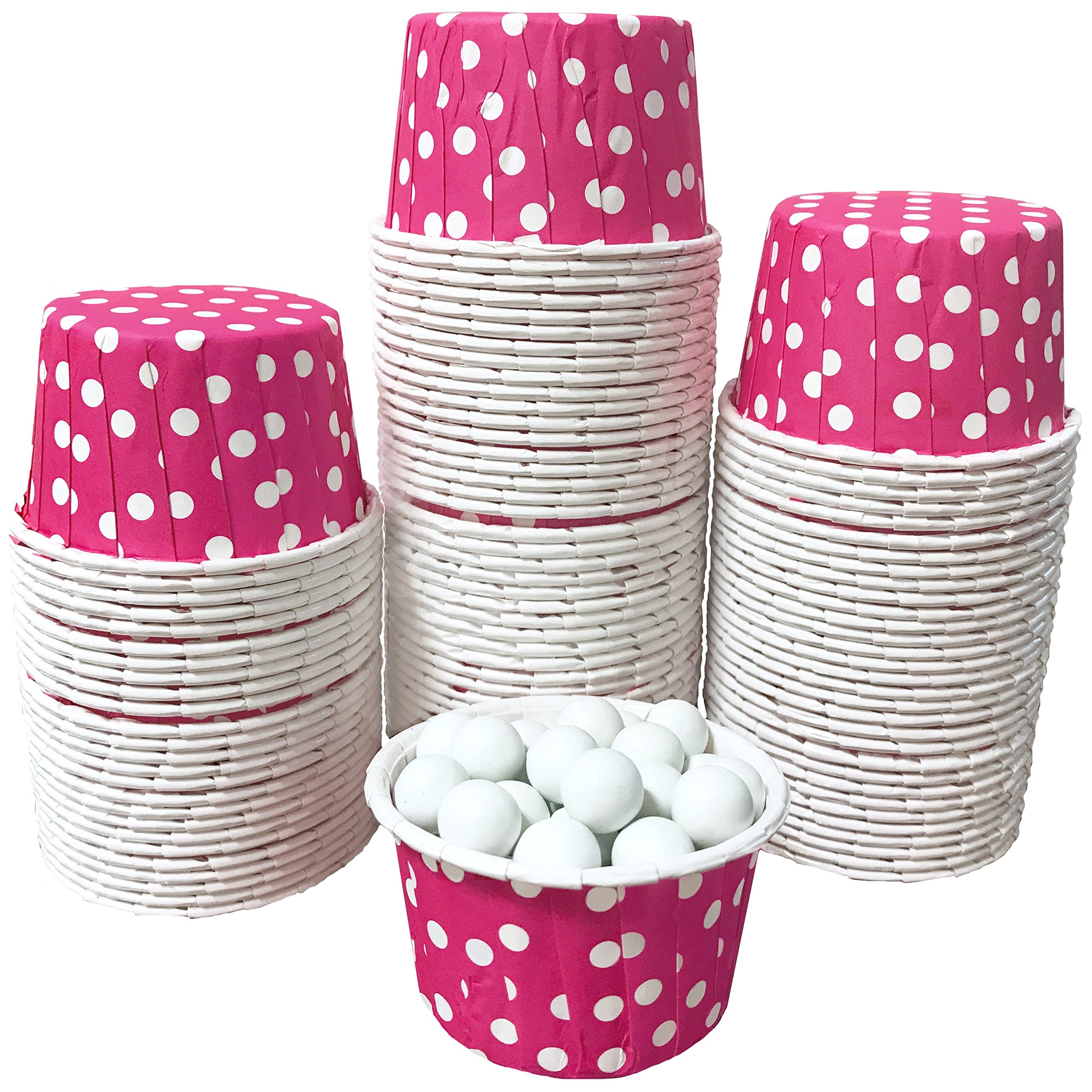 Candy Nut Mini Baking Paper Treat Cups - Hot Pink White - Polka Dot - Bulk 100 Pack