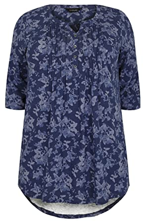 b48f56909a1 Yours Clothing Women s Plus Size Butterfly Pintuck Jersey Top Size 16 Blue