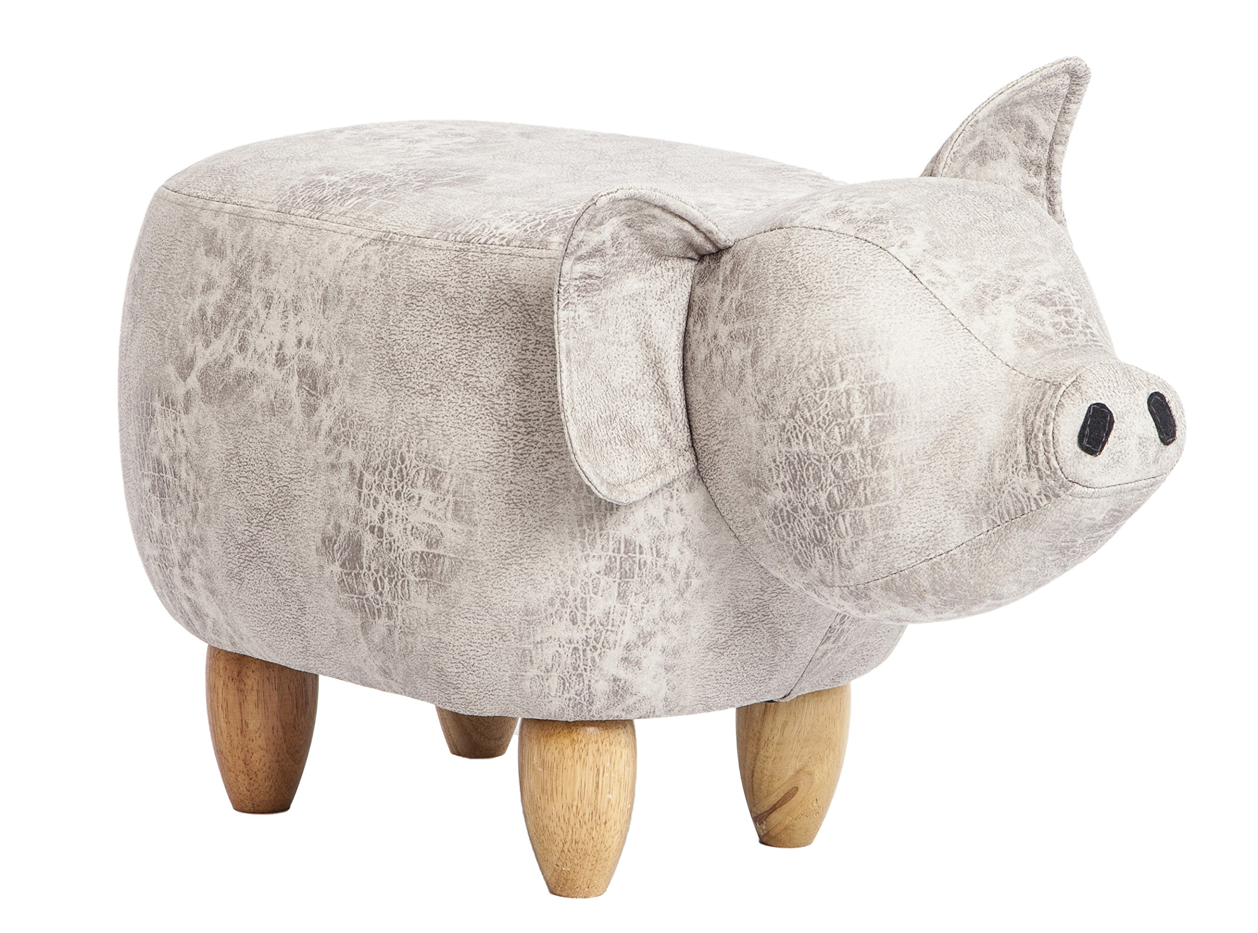 PIQUU Padded Soft Pig Ottoman Footrest Stool/Bench for Kids Gift and Adults (Beige)
