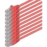 2m - rojo - 10 piezas - Cable de red Ethernet con conectores RJ45 CAT6 CAT 6 Cat.6 1000 Mbit/s