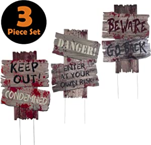 3 Piece Halloween Outdoor Decorations Yard Signs with Metal Stakes for Scary Outdoor Décor Halloween Props - Beware - Do Not Enter Creepy Sidewalk Lawn Yard Warning Signs (3 Piece Set, 12 x 9 Inches)