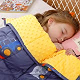 BUZIO Weighted Blanket 5 lbs for Kids, Ultra Cozy Minky Fleece and Cotton Sided with Cartoon Patterns, Reversible Heavy Blank
