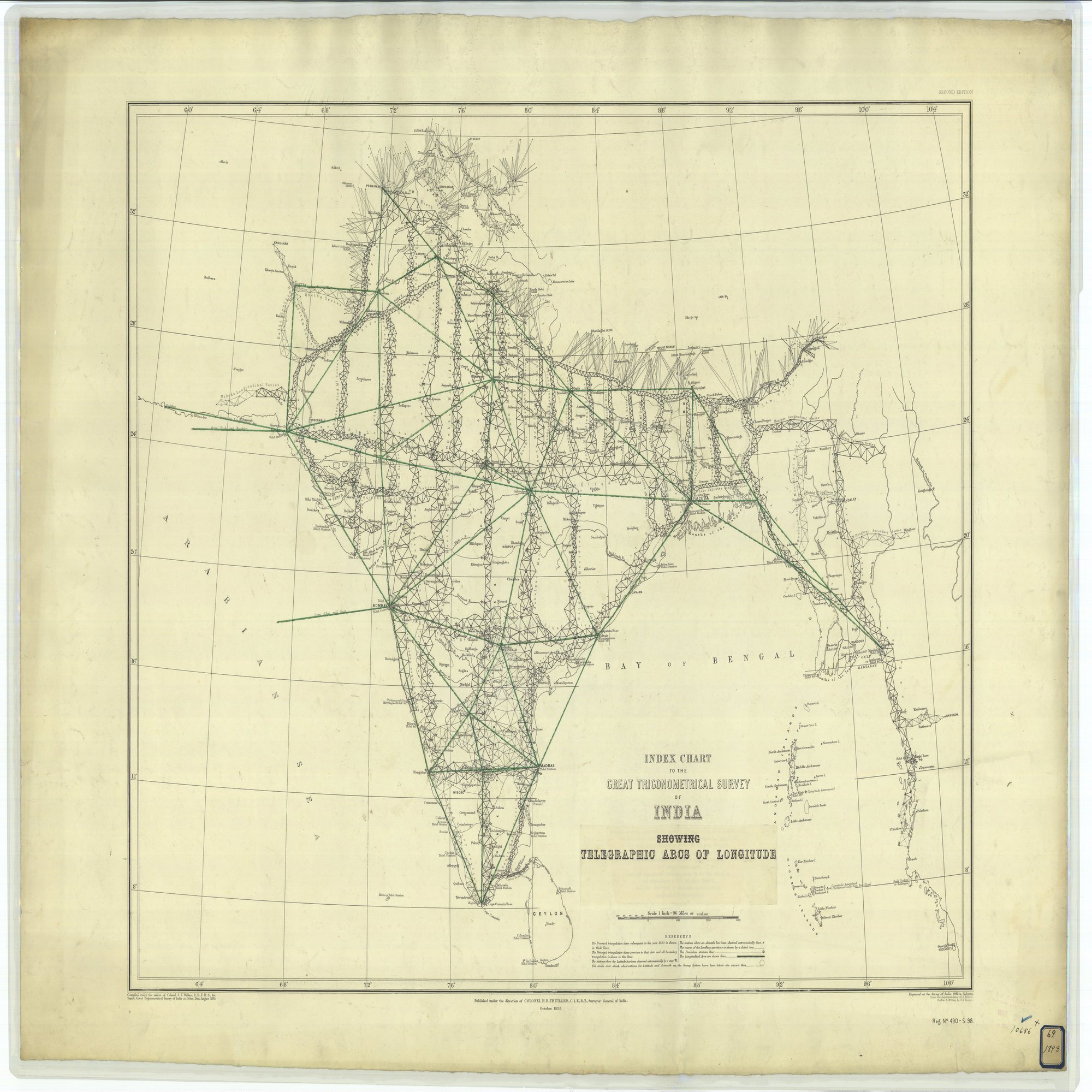 16 x 20 Glossy Nautical Map Printed on Metal Index Chart to the Great Trigonometrical Survey of India Showing Telegraphic Arcs of Longitude 1893 NOAA 25a